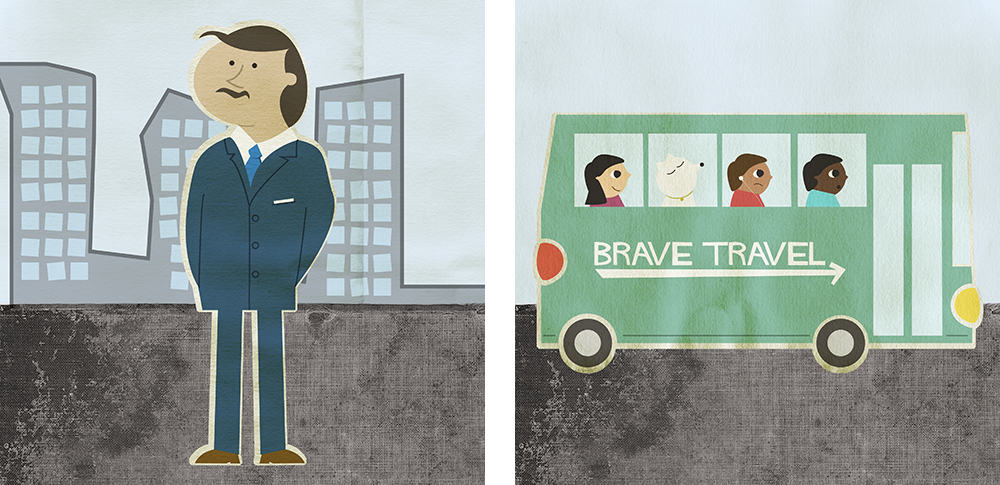 illustration of man and bus full of people