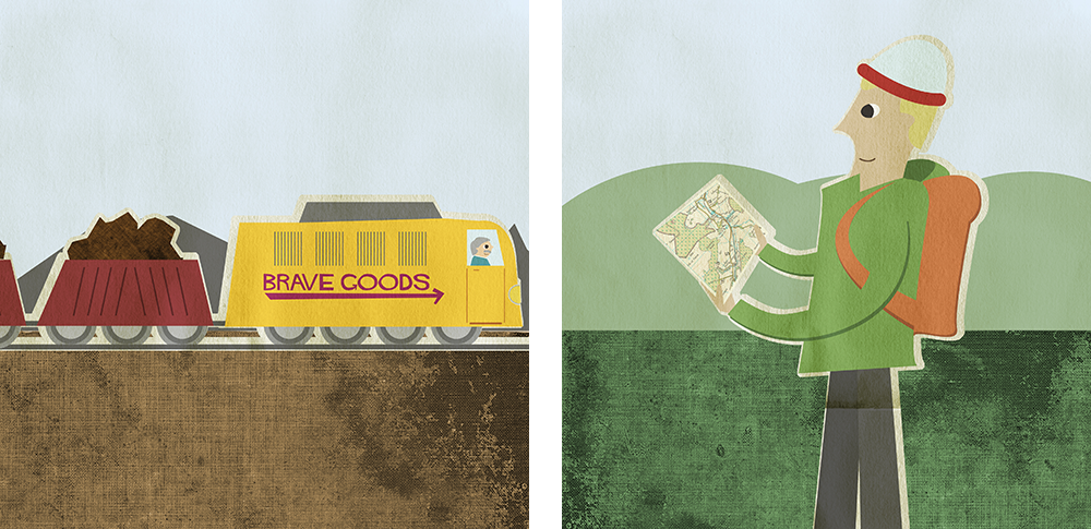 illustrations of a heavy goods train and man hiking
