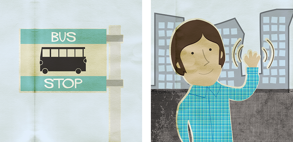 illustrations of a bus stop and man in a blue check shirt waving