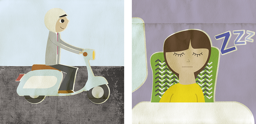 illustrations of man on scooter and woman asleep on a train