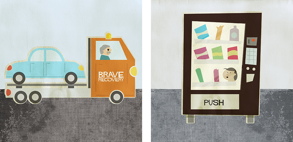 illustrations of a tow truck and a vending machine