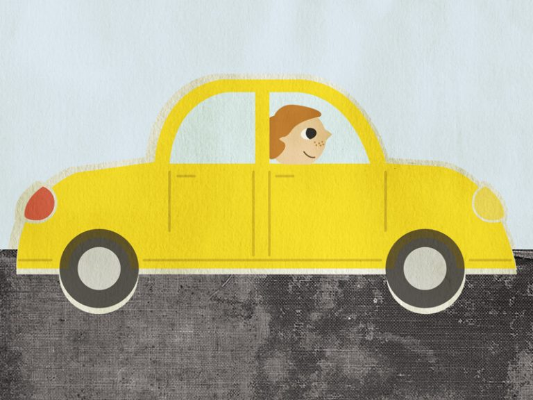 Illustration of a yellow car driven by a ginger man.