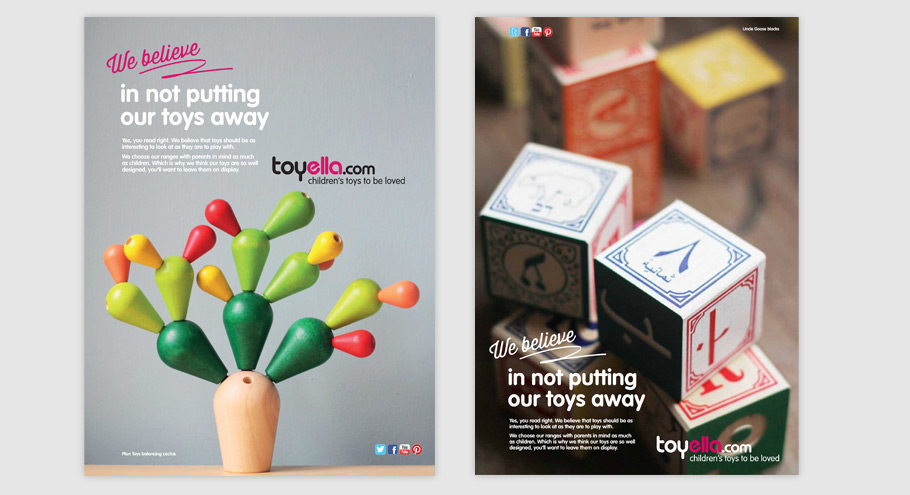 Press ads for toyella, adverts show plan toys cactus game and uncle goose wooden blocks