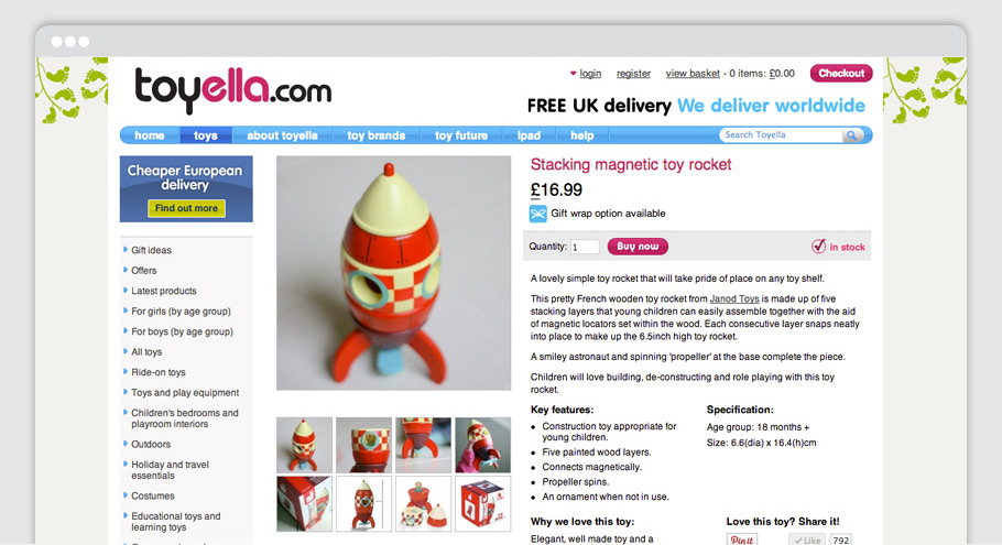 toyella website product page design layout displaying janod stacking magnetic rocket