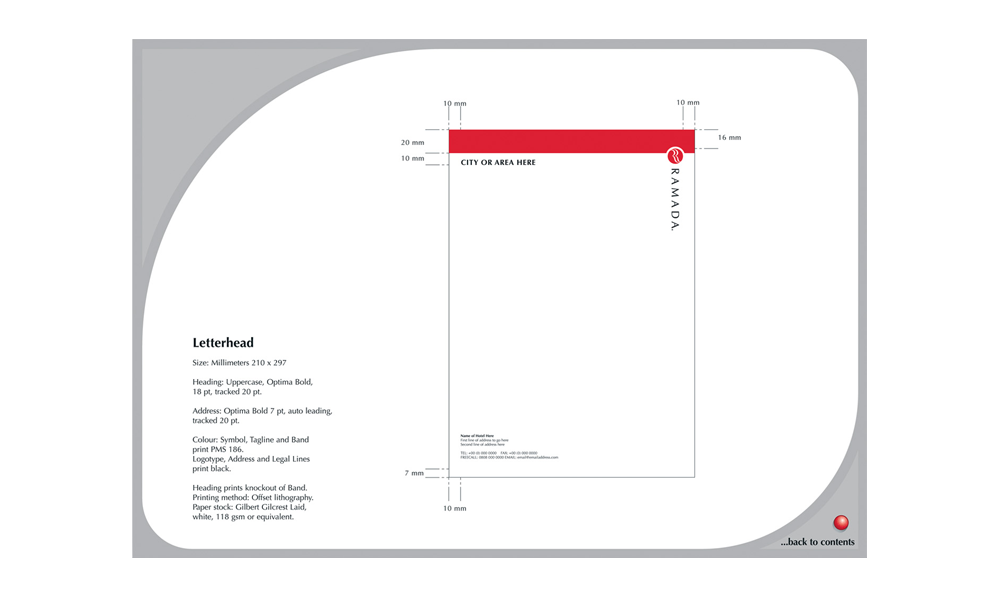 Letterhead of Ramada Graphic Standards manual