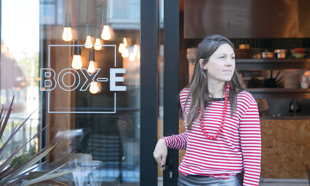 Tessa Lidstone stood at the entrance to Box-E restaurant in Bristol.