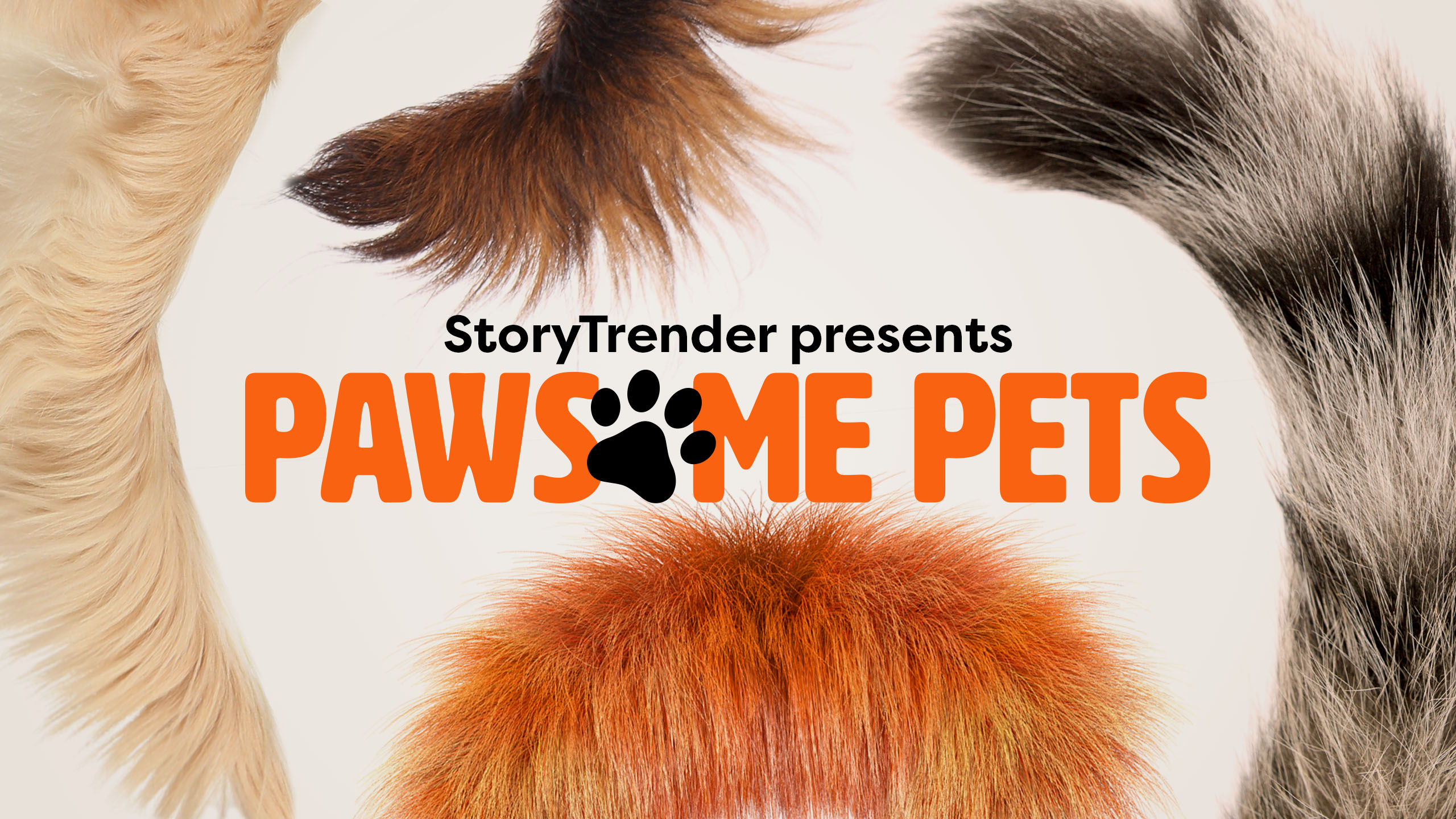 a variety of animal tails surround the title pawsome pets on a channel identity card
