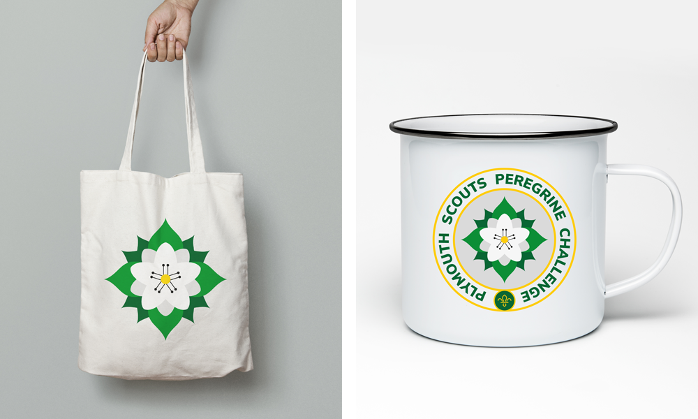 Plymouth Scouts Peregrine Challenge tote bag and enamel mug showing the badge design