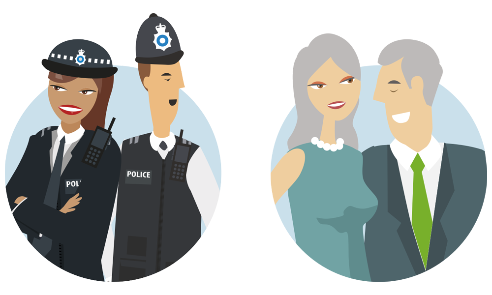 Metfriendly illustration of young male and female police officers in uniform and middle aged couple wearing smart casual clothing