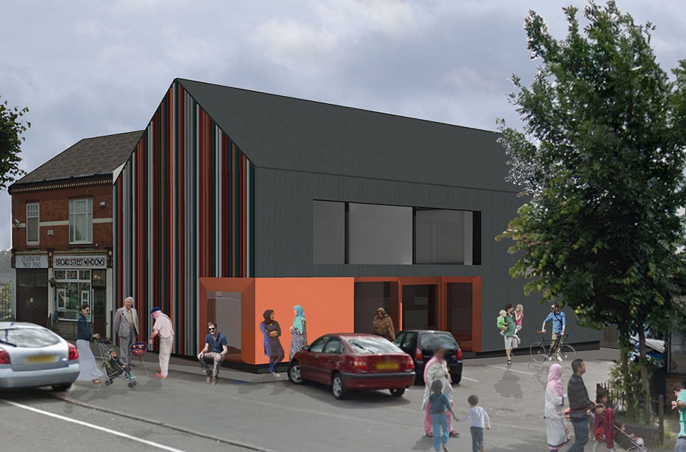 CGI of Broad Street Community Hall in Coventry, people of various ages are outside a grey modern building with a bright orange entrance