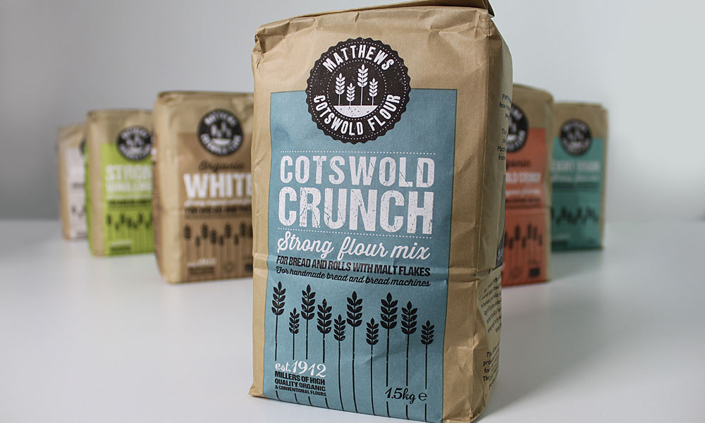 Range of flour packaging design for Matthews Cotswold flour, Cotswold Crunch is the product at the front of the shot