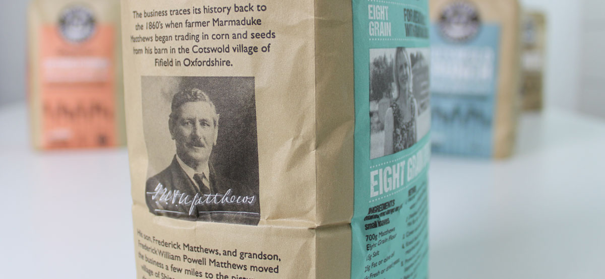 Close up of the Matthews Cotswold flour packaging design