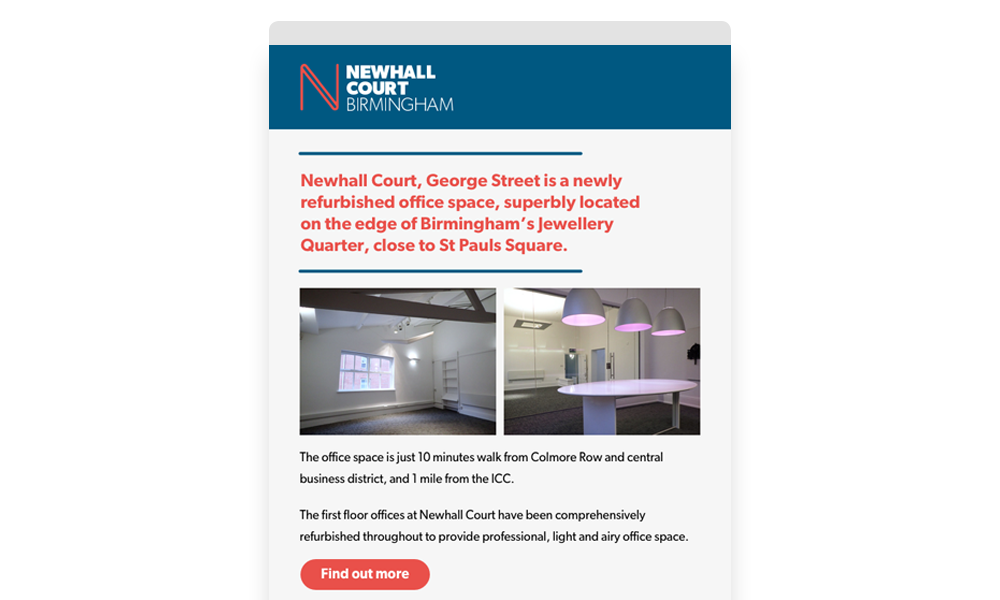 Newhall Court email campaign example layout