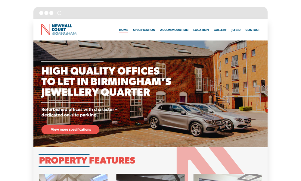 Website homepage example for Newhall Court