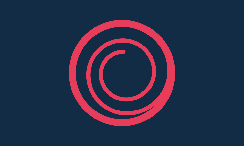 ampjam logo icon, a pink swirl surrounded by a pink circle on a dark purple background