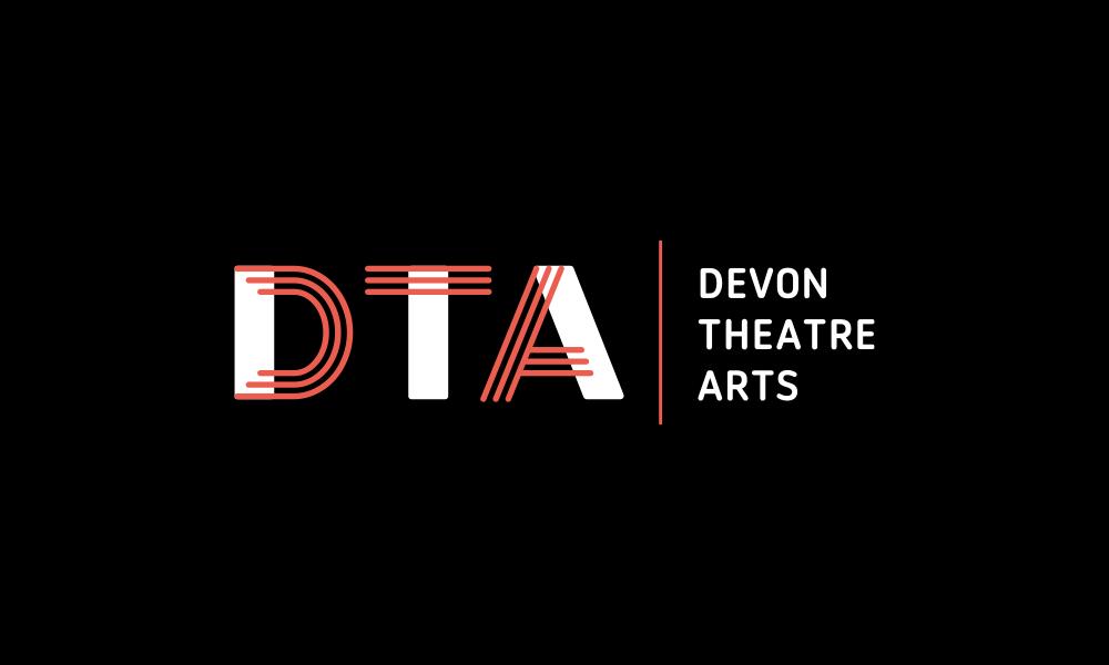 Devon Theatre Arts logo, red and white on a black background