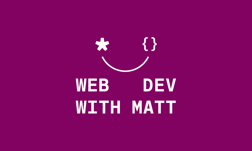web dev with matt logo design, white on a purple background featuring a smiling face made from an asterisk and brackets