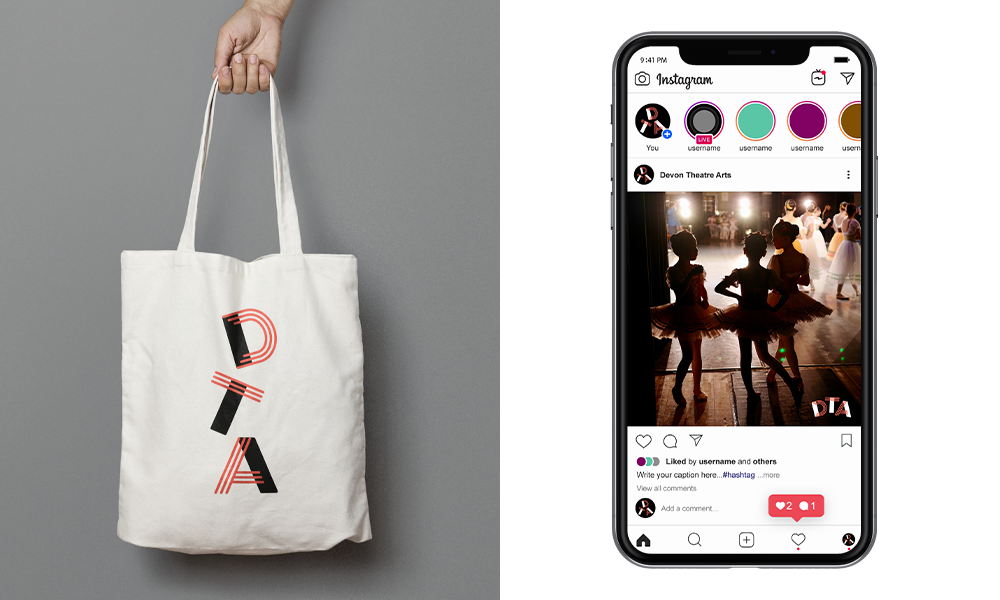 Devon Theatre Arts logo on a tote bag and an iPhone mockup showing a instagram post of young ballerinas